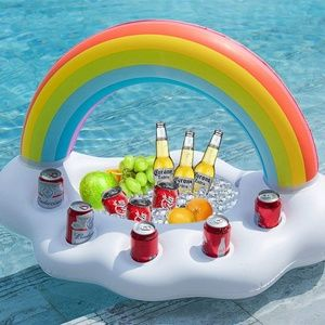 Inflatable Rainbow Cloud Drink Holder Floater